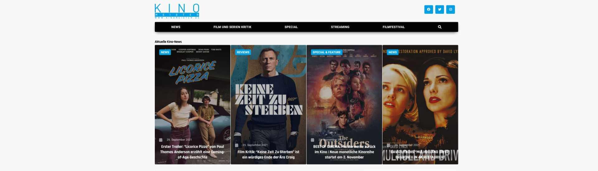 Die Startseite von kinomeister.de